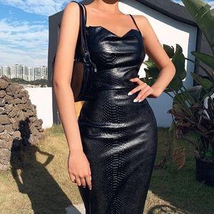 PU Leather Spaghetti Strap Bodycon Small Dress